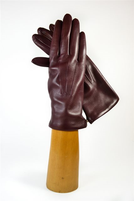ladies nappa gloves, short, cashmere lined, bordeaux