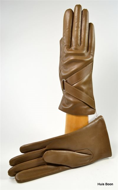 ladies nappa gloves with diagonal band,,  cashmere lined,taupe