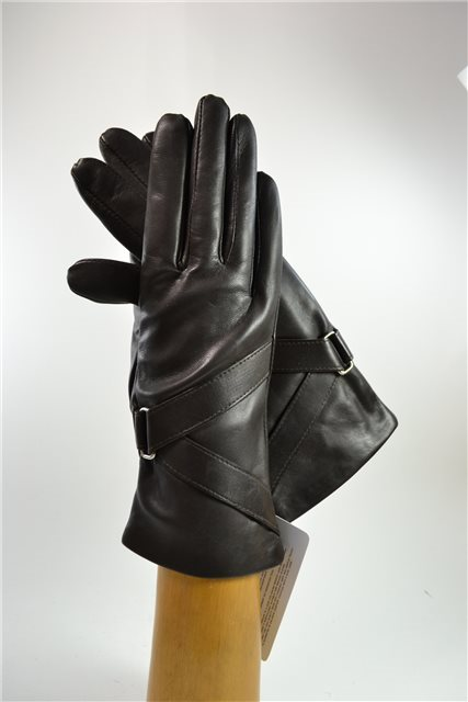 ladies nappa gloves with diagonal band, cashmere lined, dark brown