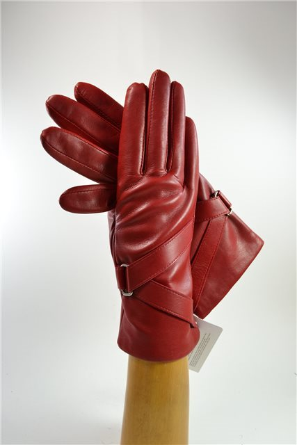 ladies nappa gloves with diagonal band, cashmere lined, red
