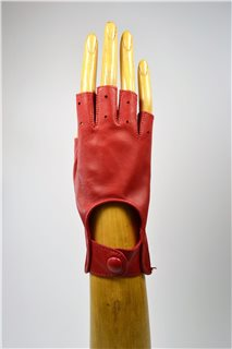 nappa driving gloves without fingers, ladies, red