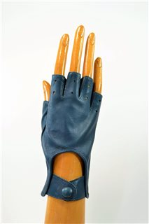 nappa driving gloves without fingers, ladies, petrolium blue