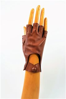 nappa driving gloves without fingers, ladies, tan