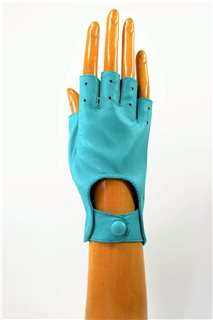 nappa driving gloves without fingers, ladies, turquoise