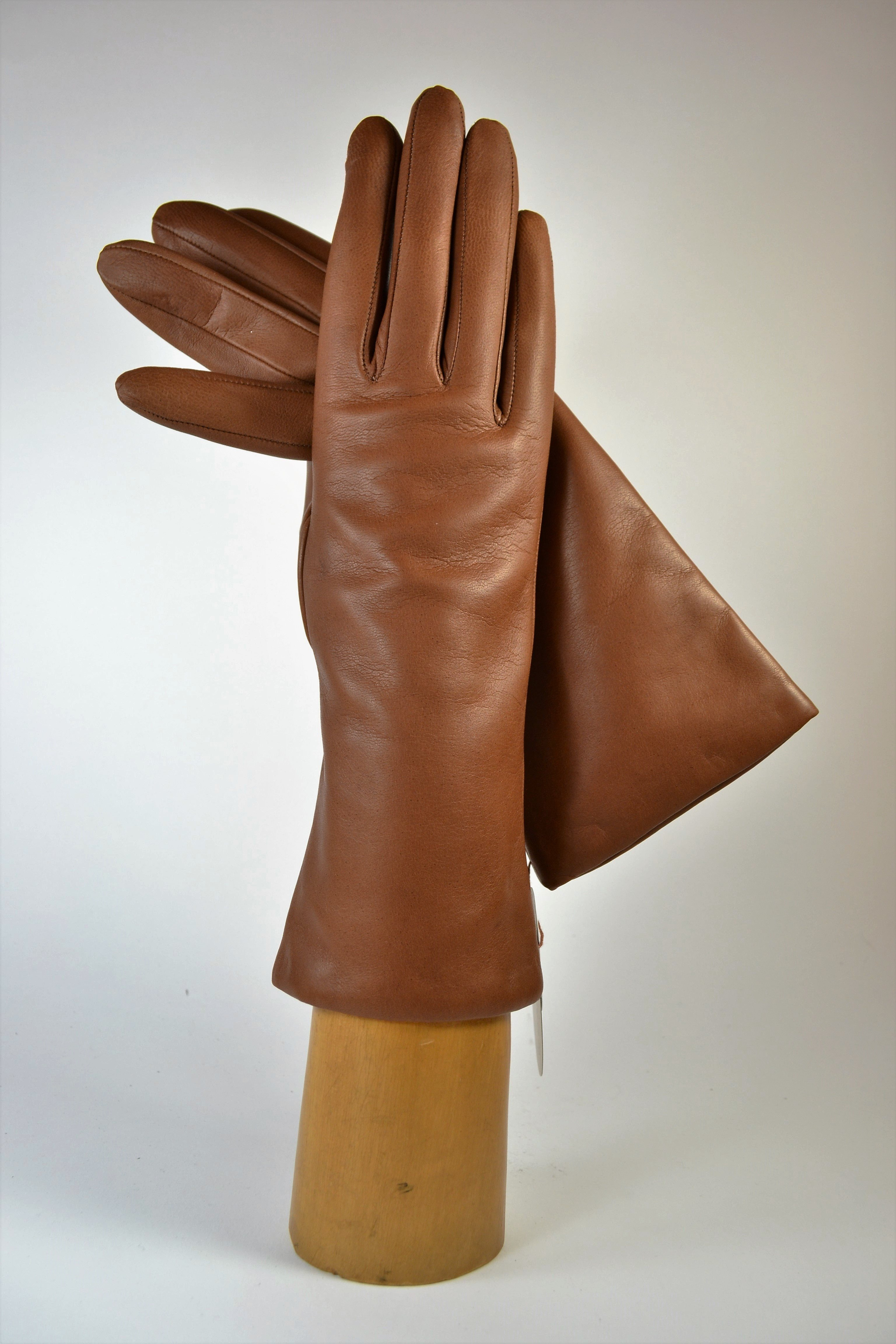 "ladies nappa gloves 3"", cashmere lined, tobacco"