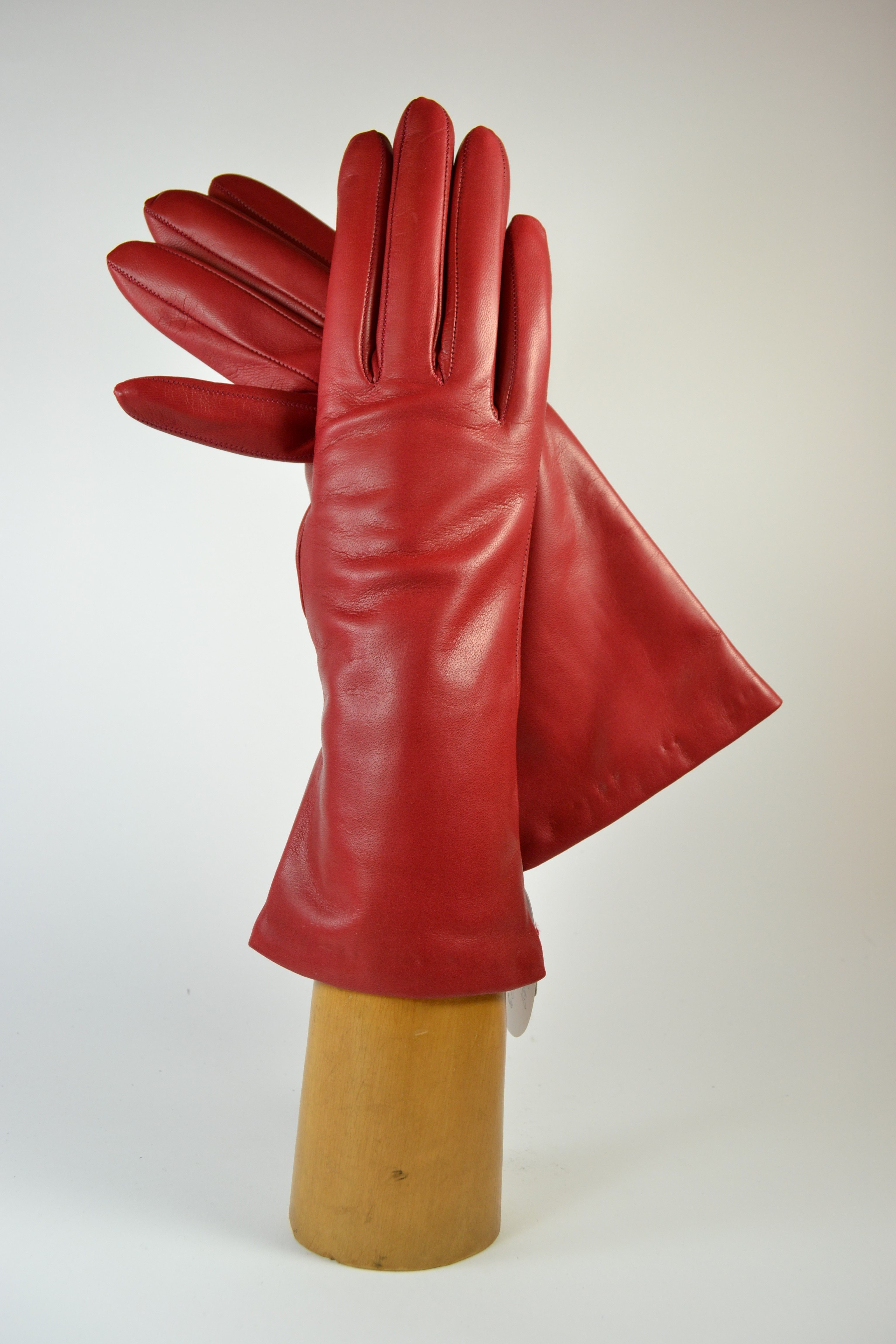 "ladies nappa gloves 3"", cashmere lined, red"