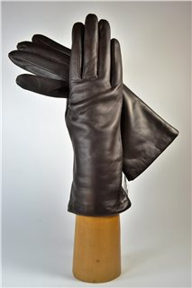 leather gloves for ladies, lining wool, dark brown