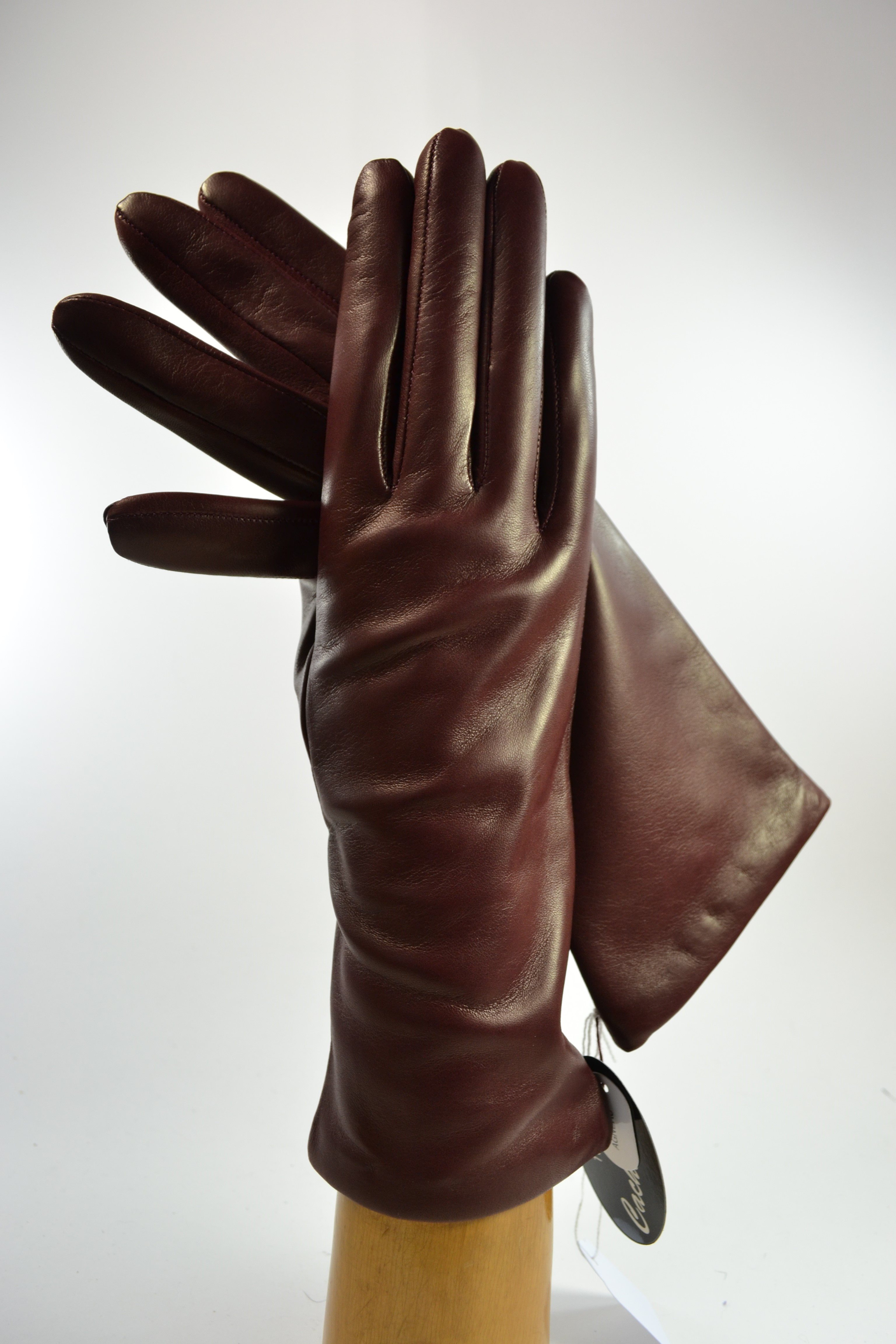 "ladies nappa gloves 3"", cashmere lined, bordeaux"