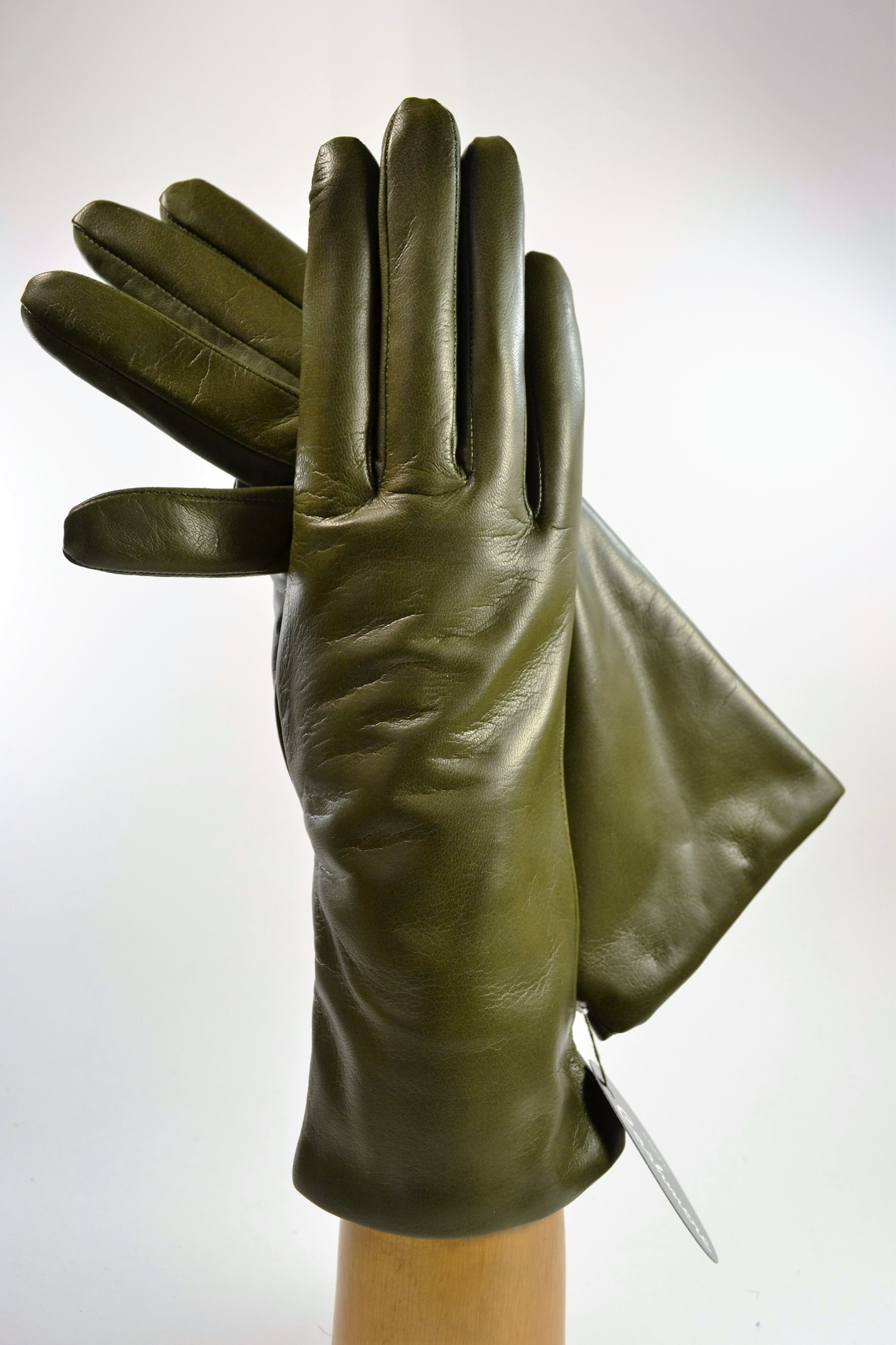 "ladies nappa gloves 3"", cashmere lined, olive green"