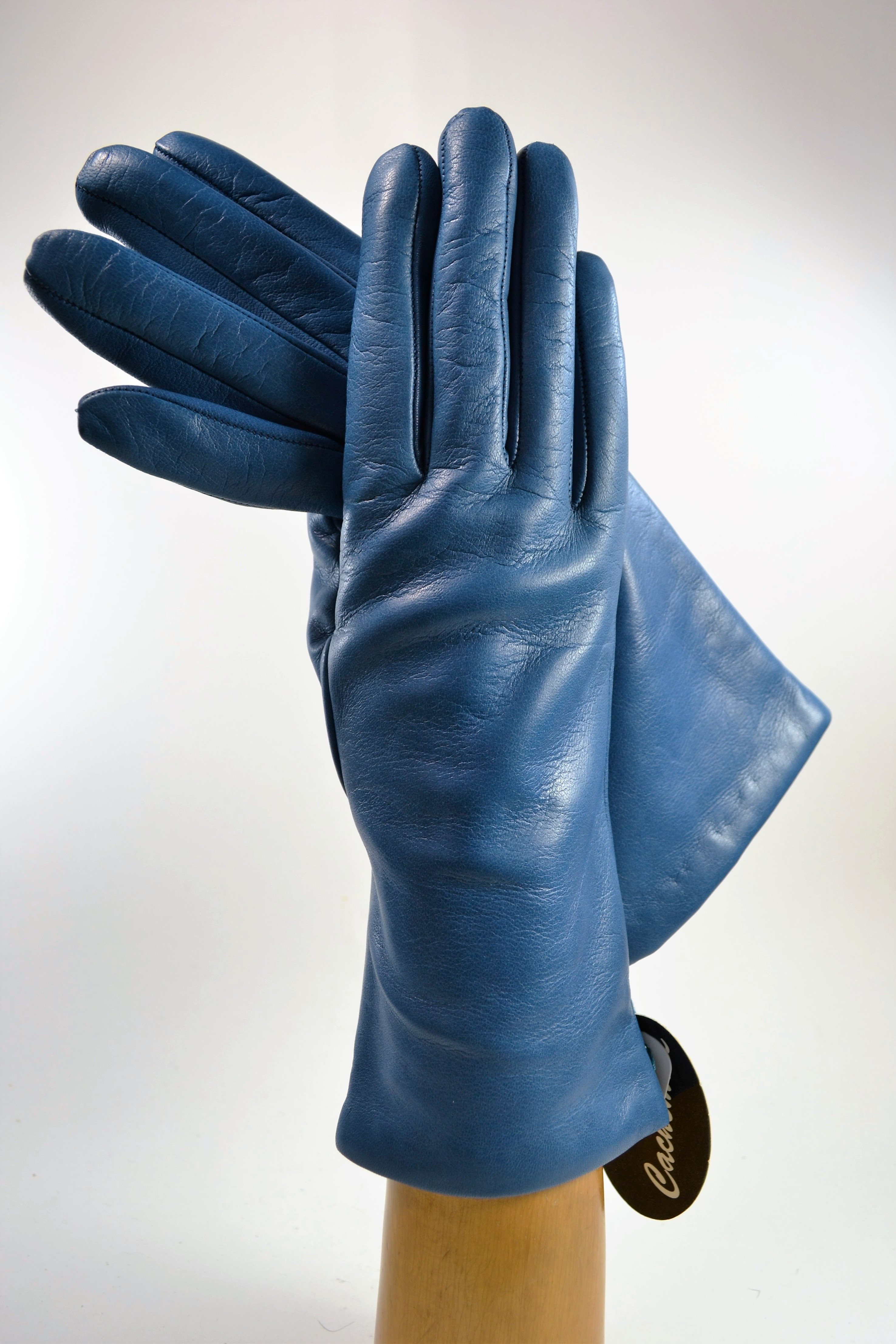 "ladies nappa gloves 3"", cashmere lined, blue lagoon"