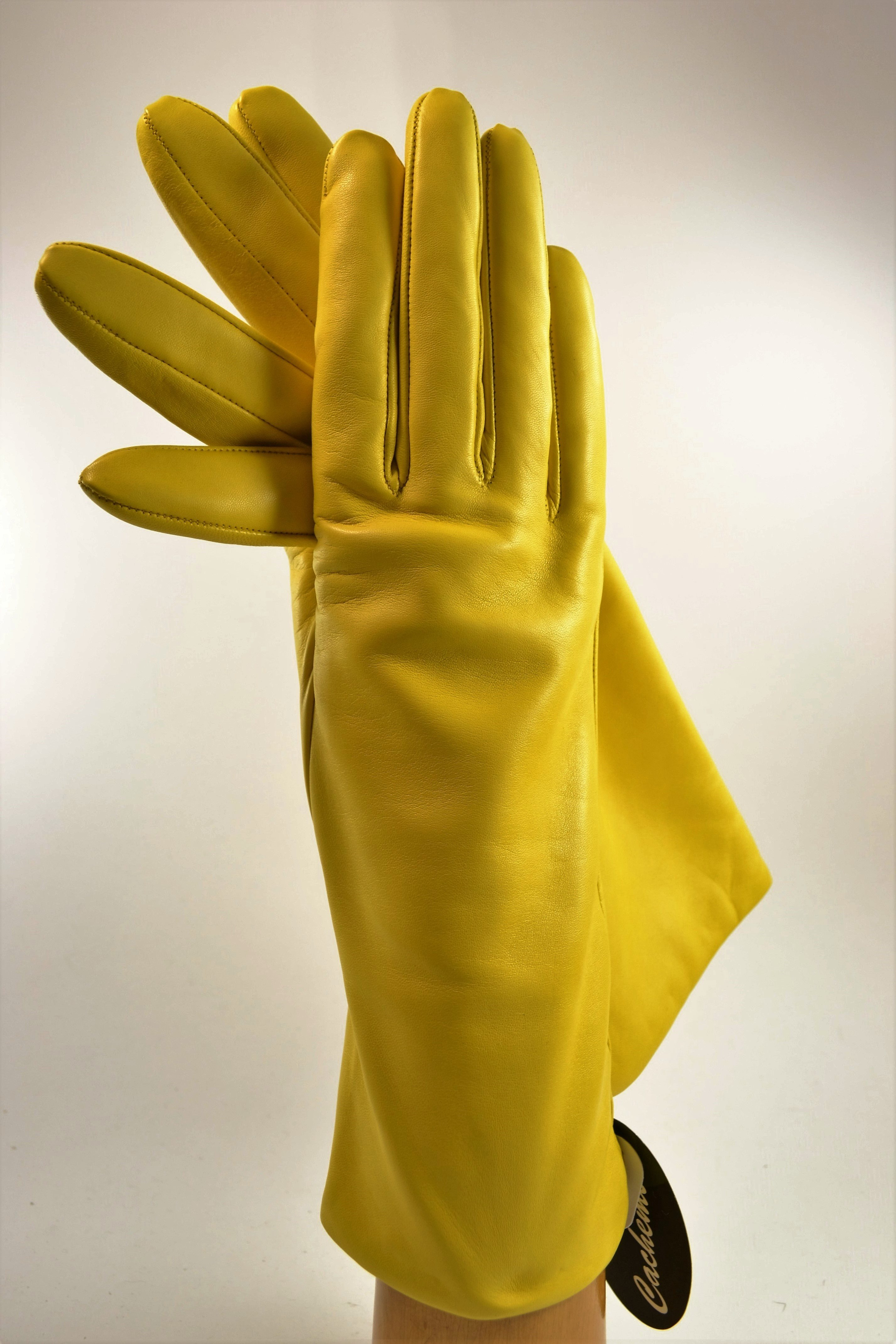 "ladies nappa gloves 3"", cashmere lined, yellow"