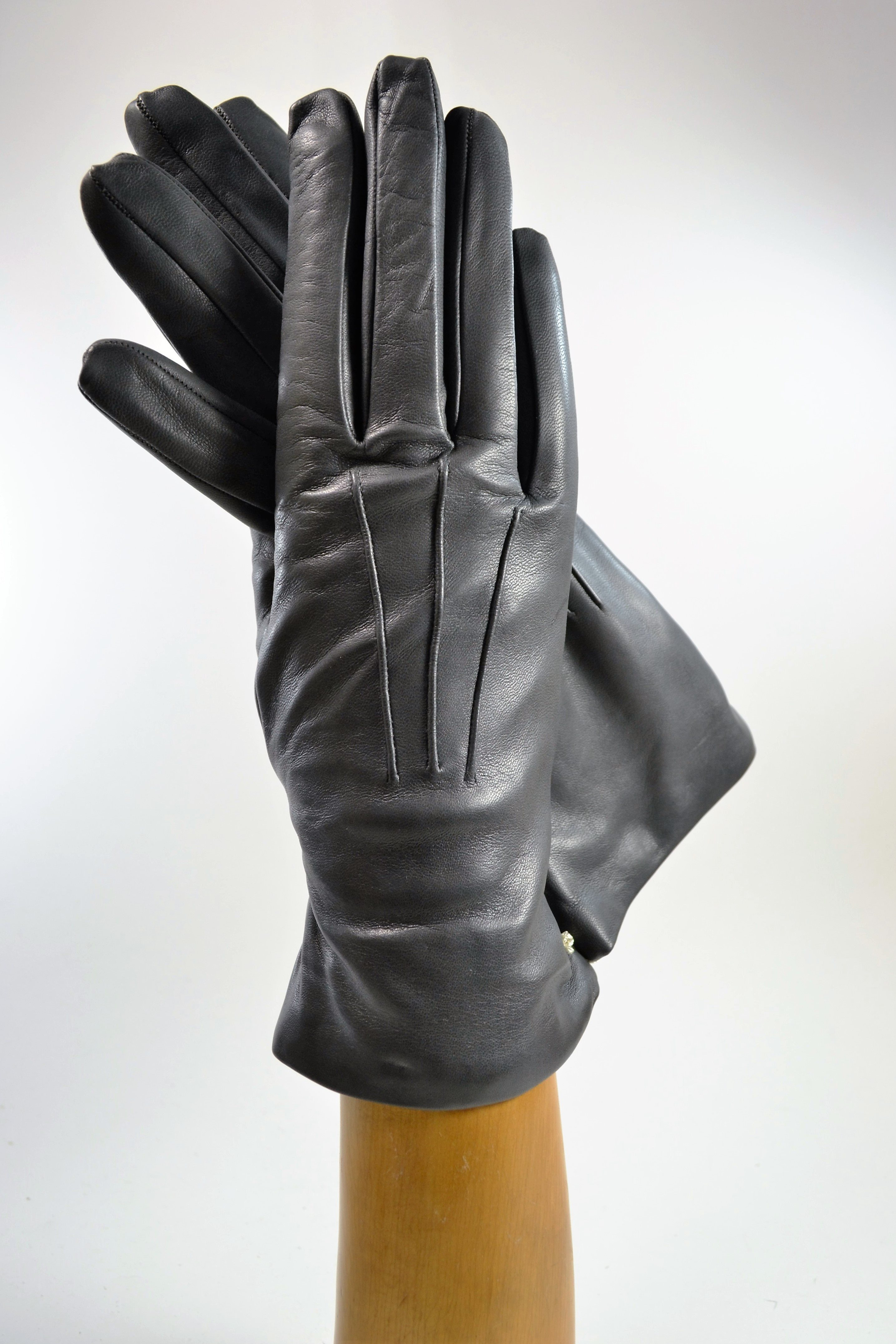 ladies nappa gloves, cashmere lined, grey