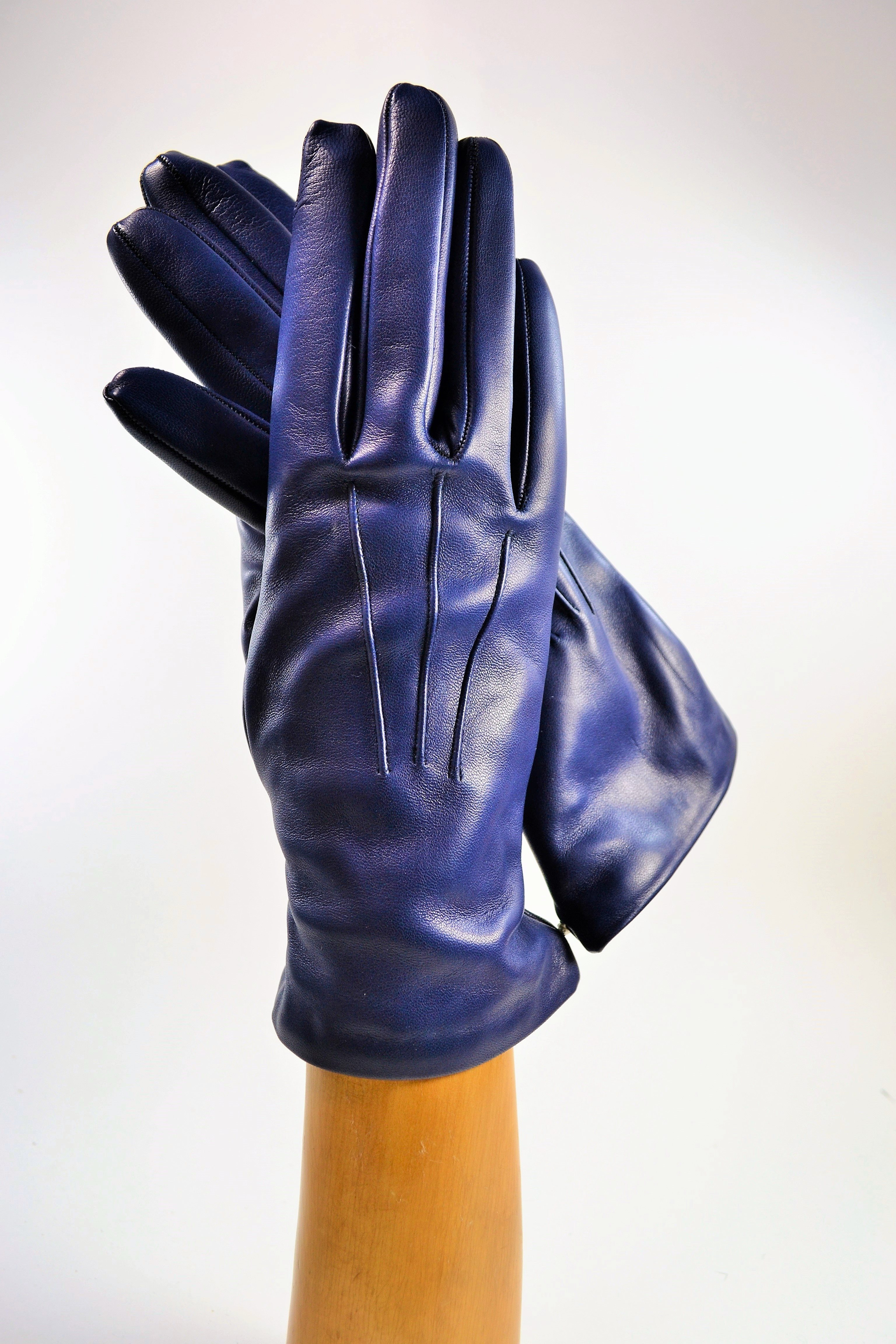 ladies nappa gloves, cashmere lined, royal blue