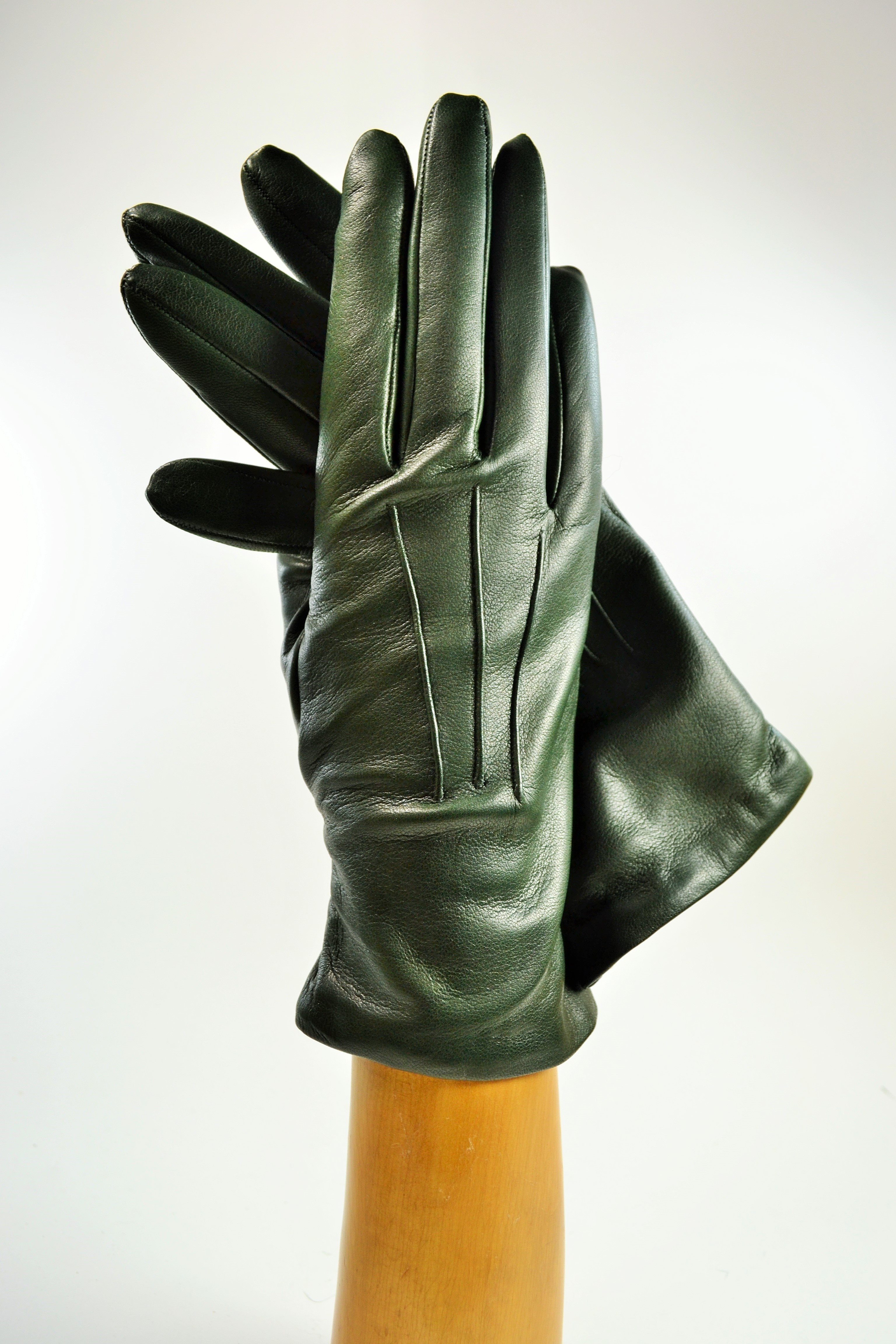 ladies nappa gloves, cashmere lined, green
