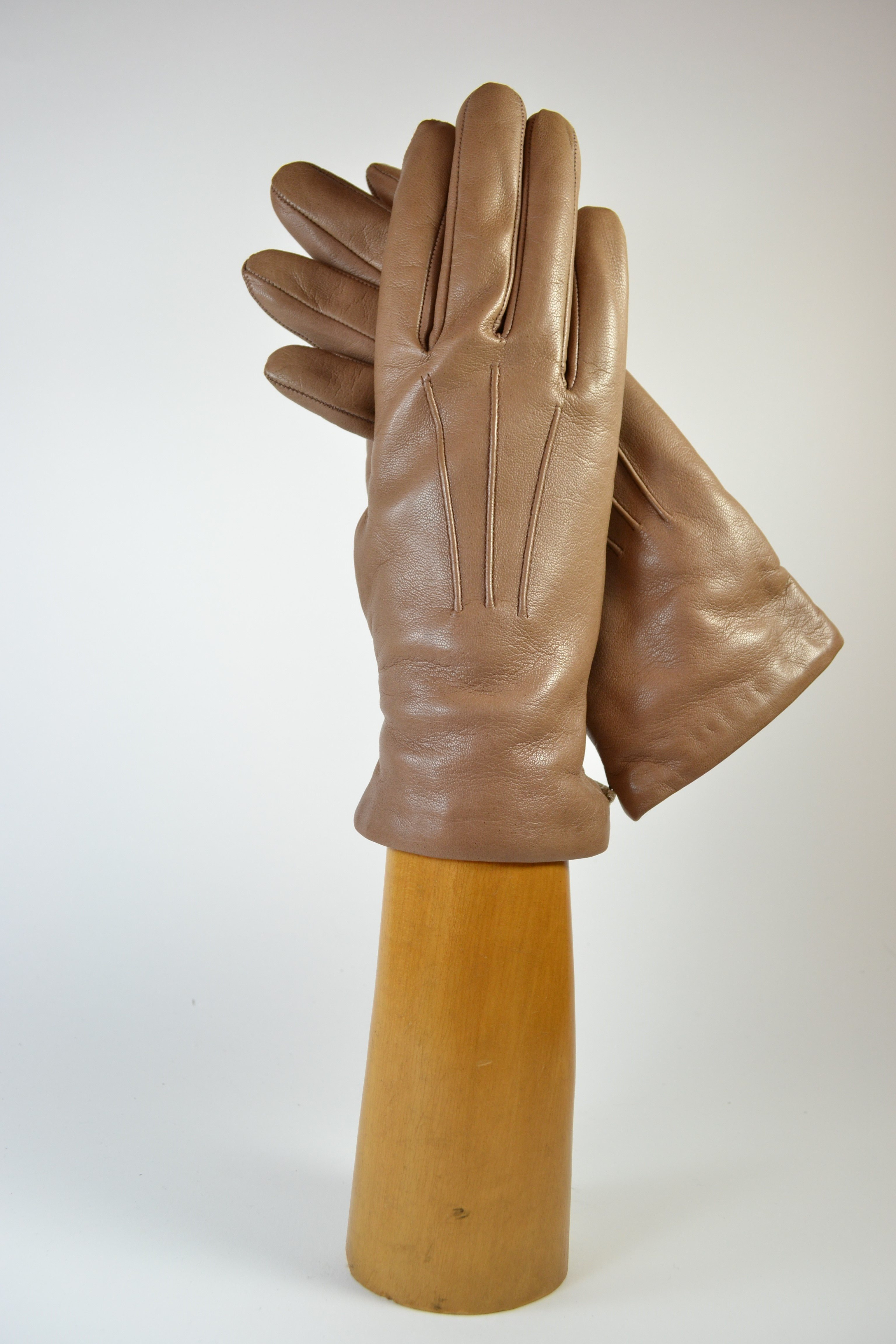 ladies nappa gloves, short, cashmere lined,taupe