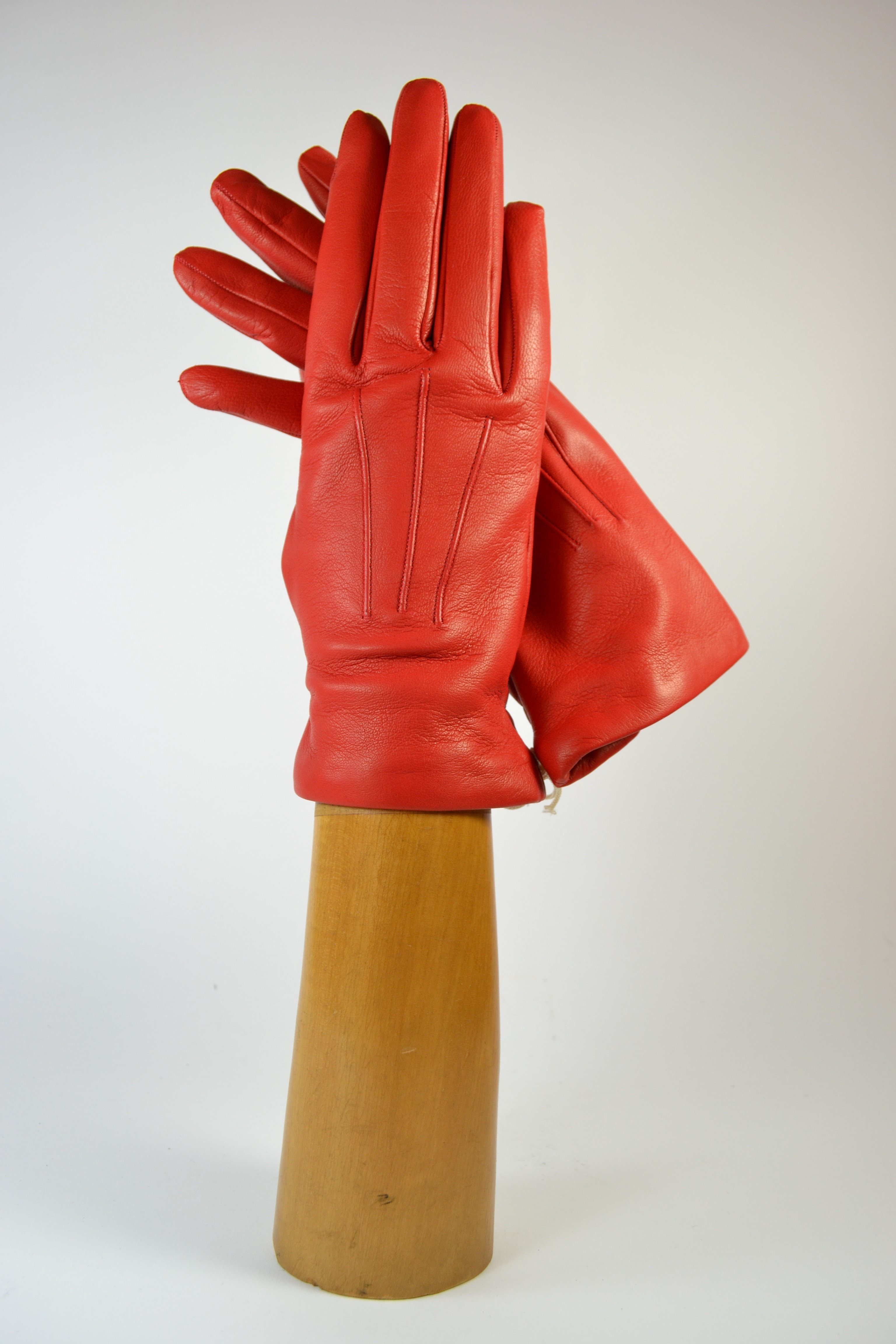 ladies nappa gloves, short, cashmere lined, red