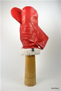 nappa mittens lambfur lined, lady's, red