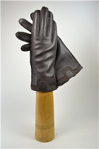 Deerskin ladies gloves, cashmere lining, dark brown