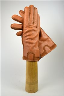 Deerskin ladies gloves, cashmere lining, nature