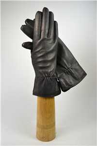 Deerskin ladies gloves, cashmere lining, black