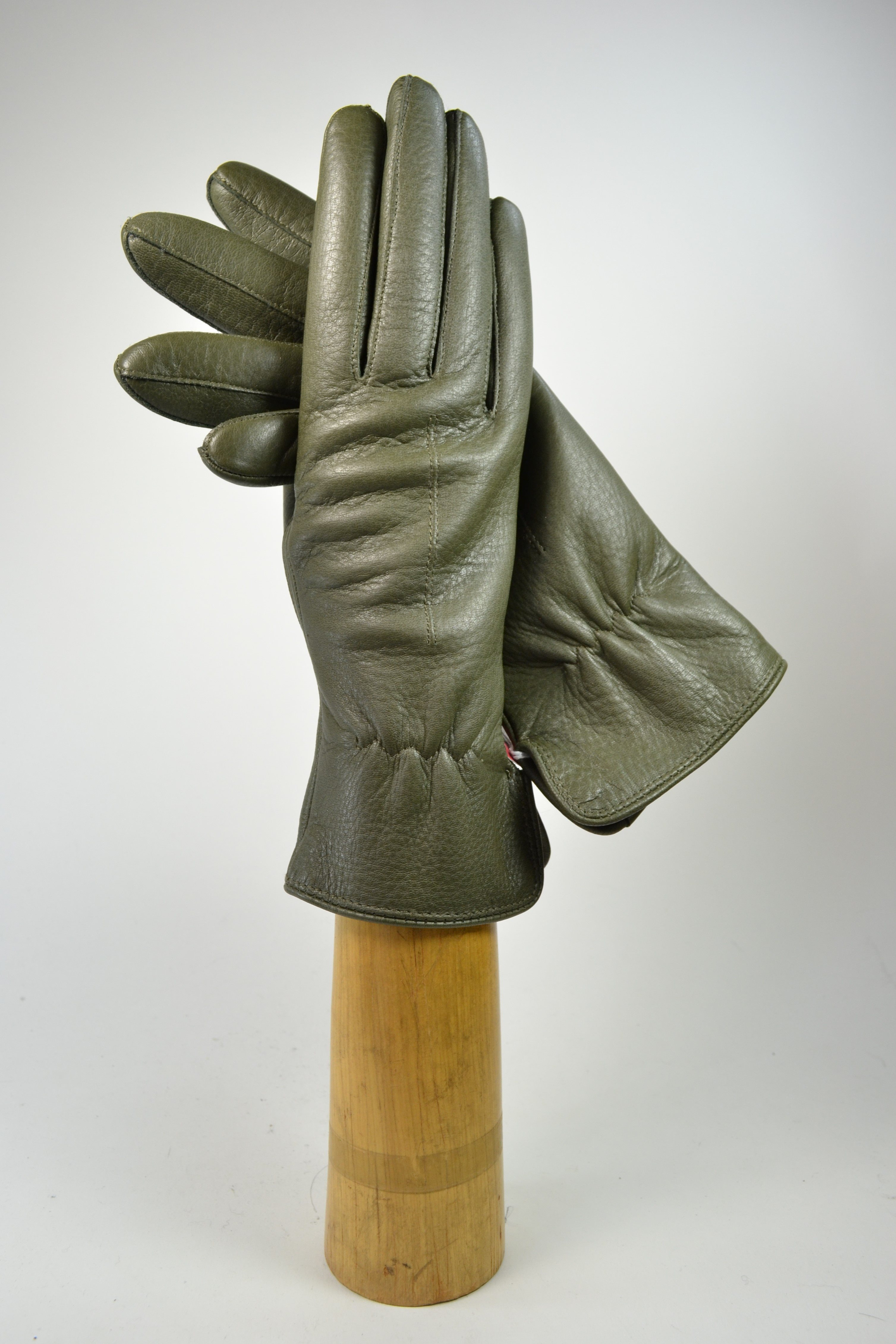 Deerskin ladies gloves, cashmere lining, piqué sewing, olive green