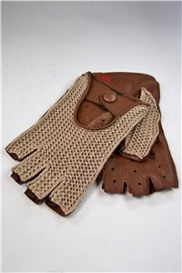 driving gloves without fingers, 1/2 crocheting, men, tan