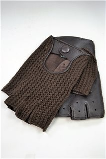 driving gloves without fingers, 1/2 crocheting, men, brown