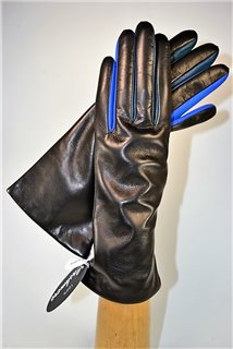 "ladies nappa gloves 3"", cashmere lined, black/blue"