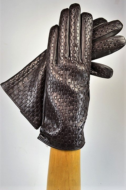 Woven ladies nappa gloves, cashmere lined, dark brown