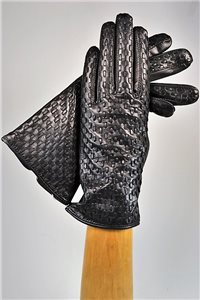 Woven ladies nappa gloves, cashmere lined, black