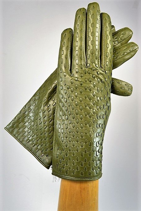Woven ladies nappa gloves, cashmere lined, olive green