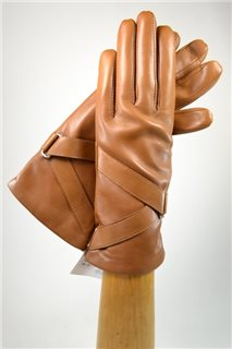ladies nappa gloves with diagonal band, cashmere lined