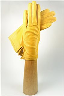 ladies nappa gloves, silk lined, yelow