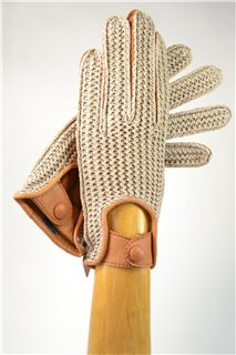 driving gloves , 1/2 crocheting, women, tan