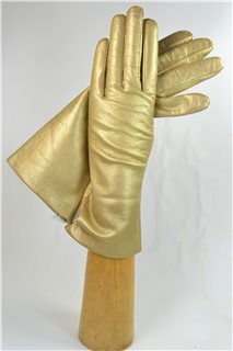 leather gloves for ladies, lining wool, gold