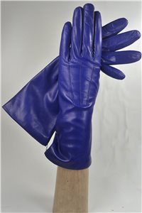 leather gloves for ladies, lining wool, avion blue