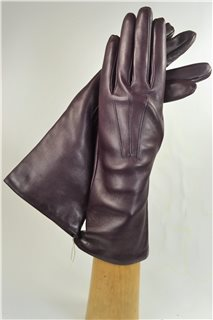 leather gloves for ladies, lining wool, bordeaux
