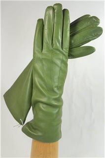leather gloves for ladies, lining wool, olive green