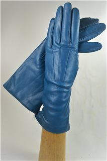 leather gloves for ladies, lining wool, petrol blue