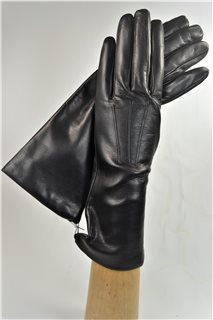 leather gloves for ladies, lining wool, black