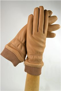 Deerskin ladies gloves with cuff, cashmere lining, nature brown
