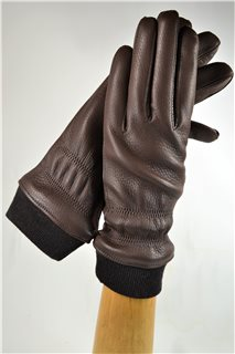 Deerskin ladies gloves with cuff, cashmere lining, tobacco